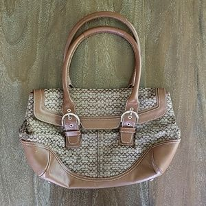 Coach C Fabric and Leather Brown Shoulder Bag